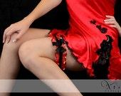Bridal Garter Cherry Red & Black Sparkle