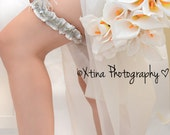 Pure Platinum & White Crystal and Feather Satin Garter