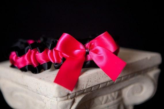 Sassy Hot Pink & Black Crystal Wedding Garter