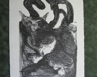 Cats  Black and White Lithograph Print