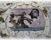 Louis Armstrong, 1940's Musical Legend, Jazz Musician, Tin Box, Treasure Box, Keepsake Box, Coin Purse, Credit Card Case, Altered Tin Box,