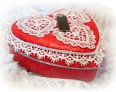 Valentine, Heart Shaped Box, Red, Altered Tin Box,  Hand Embellished