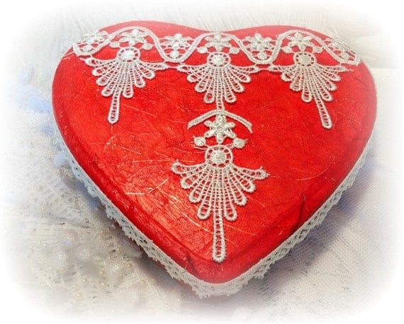 Heart Shaped Box, Altered Tin Box , Red Hand Embellished