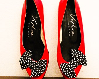 RED Ballet Flats with Polka Dot BOWS, Flat shoes, Slip on Red Shoes