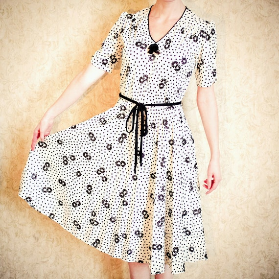 RESERVED for EstellaVintage FLOWER and POLKA  Dot Day Dress, Floral Secretary Dress with Pleated Skirt