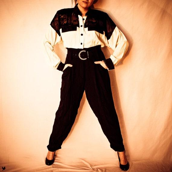 Vintage Jumpsuit Onesie 1980s Black and White SHEER Top