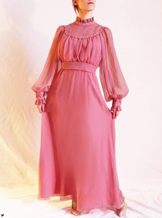 Vintage Rose PINK Maxi Dress, Long Prairie Dress, Flower Appliques, Romantic Sheer Flowy Maxi Dress