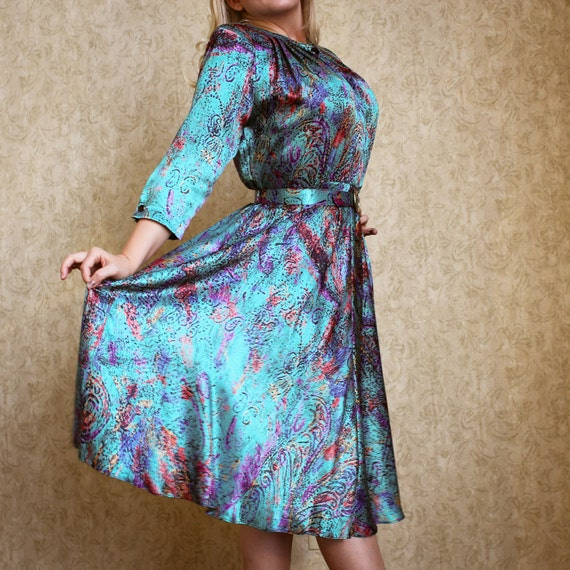 RESERVED Vintage TEAL Colorful Silky flowy long sleeve,Day Dress, Secretary Dress