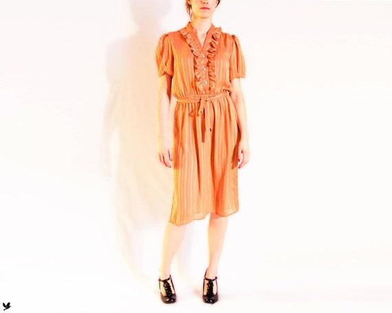 Vintage MUSTARD Yellow Dress, Ruffle Front, Day Dress, Short sleeves, Secretary Dress, Button Down Dress