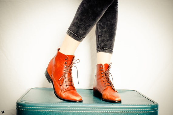 Vintage Brown Lace up Boots, Granny Boots, Grunge Ankle Boots