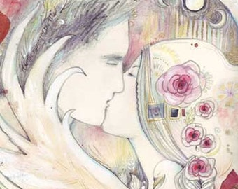 Lovers Tryst romantic art print limited edition from the original symbolist watercolor painting of two lovers