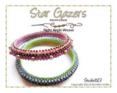 Beading Pattern, Intermediate Tutorial, Right Angle Weave, Narrow, Skinny Tribal Bangles, Beading Instructions  STAR GAZER
