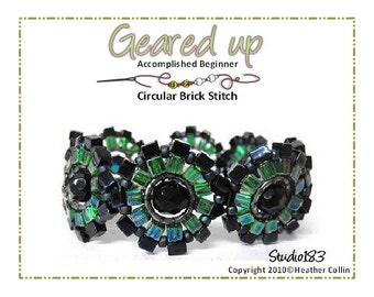 Beading Pattern, Instructions, Tutorial, Circular Brick Stitch Fun GearsCircular Bracelet Instant Download GEARED UP