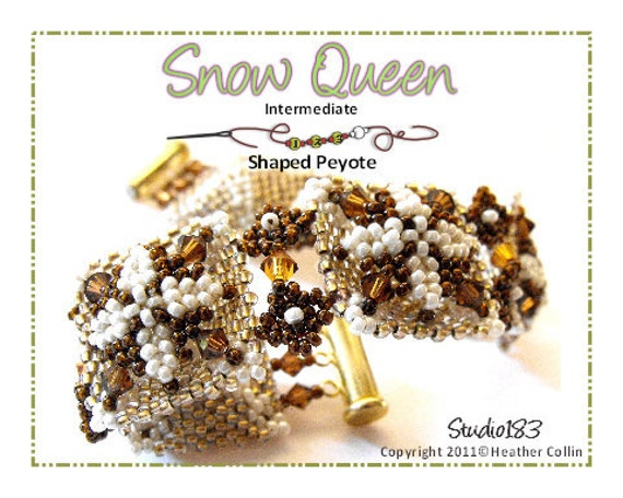 Beading Pattern, Instructions, Tutorial, Flat Circular Peyote Stitch Pillow Beads Cuff  Instant Download SNOW QUEEN