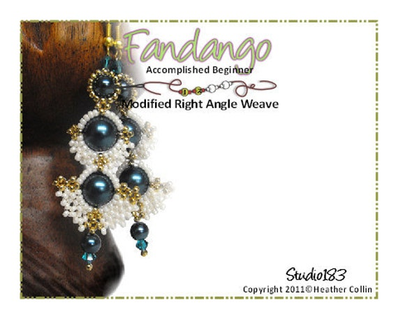 Beading Pattern, Instructions, Tutorial, Right Angle Weave Shoulder Duster Long Earrings Instant Download FANDANGO