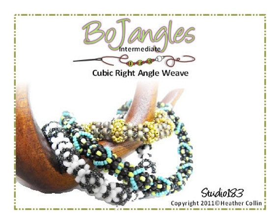 Beading Pattern, Instructions, Tutorial, Cubic Right Angle Weave CRAW Soft Skinny Rope Bangles Instant Download BOJANGLES