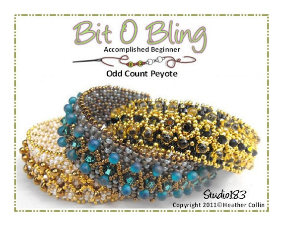 Beading Pattern, Instructions, Tutorial, Peyote Stitch, Embellished Elegant Feminine Cuff Instant Download BIT O BLING
