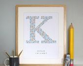 Sea Side Themed Monogram K - Babys nursery Print - Adorable Initial