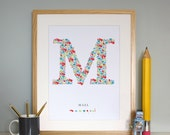 Mael's custom made Monogram M Baby Boys Initial Adorable Wall Art for the Nursery / Print /
