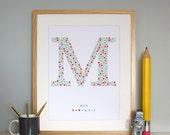 custom made Monogram M Baby Boys Initial Adorable Wall Art for the Nursery / Print /