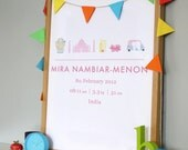 Indian Baby Girl Custom Birth Announcement Print New Born Artwork - Nursery Artwork Print / Poster