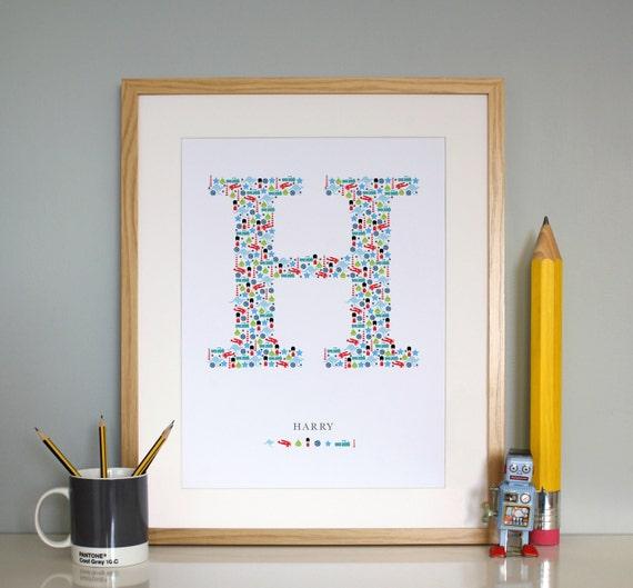 Custom Boys Monogram H - Dual Nationality - Aussie / Brit Baby Boy - Nursery Wall Art / Print / Poster