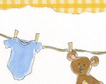 Teddy Bear, Baby art, Yellow, Fabric, Collage, Nursery artwork, Baby Shower Gift, Print