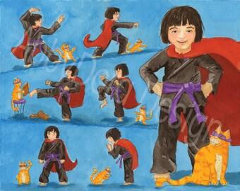 Dress-Up, Costume, Karate Kid, Karate, Girl, Super Hero, Orange, Tabby Cat, Print