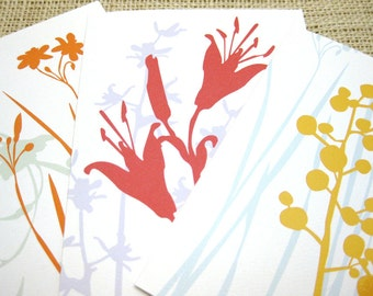 Lilies, Flowers, Thank You Notes, Floral Silhouettes, Wild Flowers, Blank, Notecards, Stationery - Set of 6