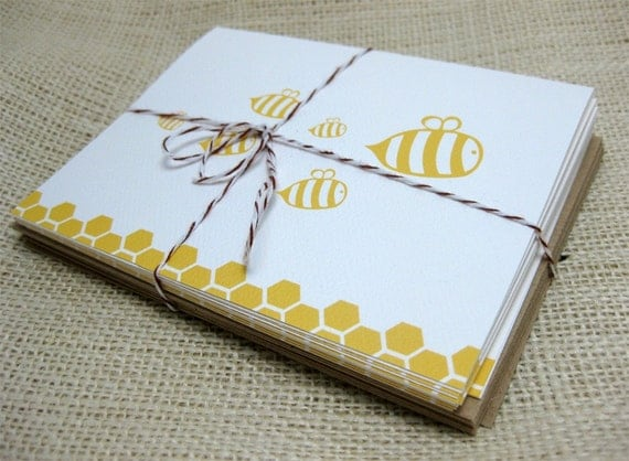 Yellow Honey Bee, Blank, Thank You Notes, Baby Shower, Notecards - Set of 6 (A2)