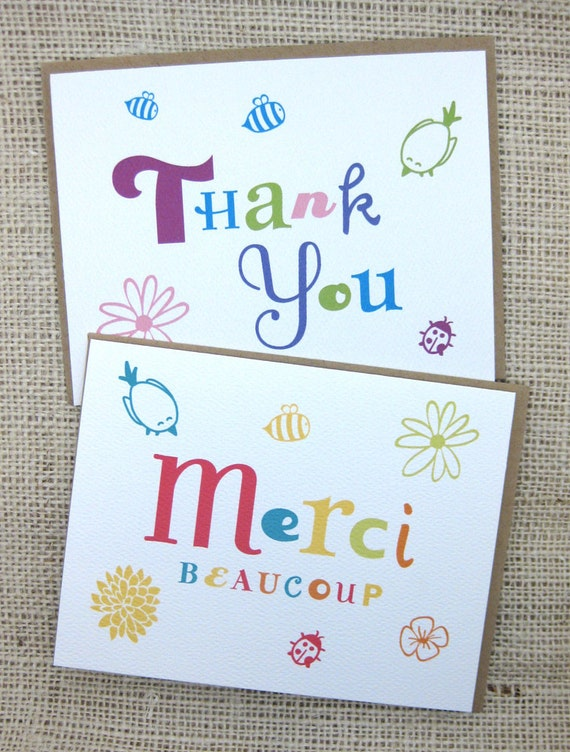 Flower, Bird, Bee, Thank You Notes Card Collection- Set of 6 (A2)