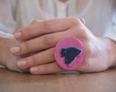 Blue Bird on Pink Ring. Handmade with Clay, One of a Kind