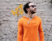 Orange Hoodie for Men, Handmade: Sunny, Spring Collection - Wonderhand