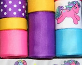 Grosgrain Ribbon Lot Mix My Little Pony Inspired 10YDS Purple Yellow Turquoise Hot Pink