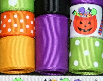Grosgrain Ribbon Lot Mix 10YDS Halloween Candy Purple Apple Green Yellow Orange