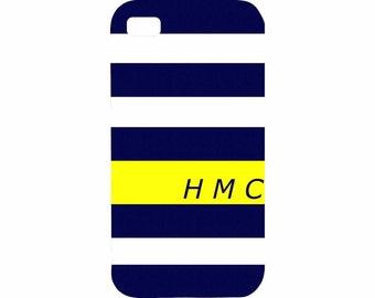 HTC One X Personalized Nautical Stripes Hard Plastic Case