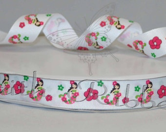 Grosgrain Ribbon Floral Mermaid m2mg mtmg 5 yards 7/8""