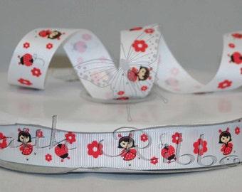 "Wholesale Grosgrain Ribbon Polka Dot Ladybug M2MG MTMG - 50 yard Full roll 7/8"""