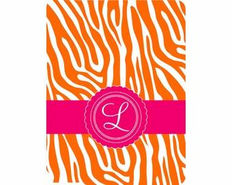 SALE 30% OFF! iPad 2, 3, or 4 Hard Snap on case cover Personalized Custom Zebra Orange White Fuschia
