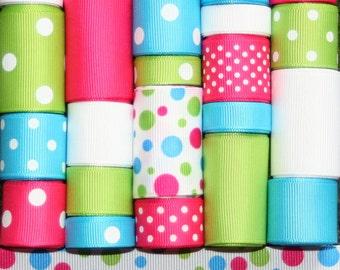 Grosgrain Ribbon Lot MIx 25YDS Polka Dot Variety 4 Turquoise Shocking Pink Apple Green