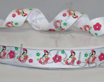 Grosgrain Ribbon Floral Mermaid m2mg mtmg 20 yards 7/8""