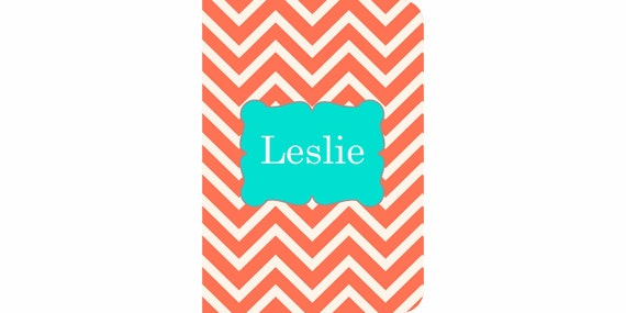 iPad 2, 3, 4, 5 Air, Mini, or NEW Mini Leather case cover Personalized Custom Chevron Coral Turquoise