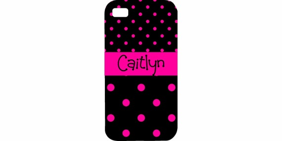 iPhone 4 4s 5 5s 5c 6 6 plus iPod Touch 4 5 cover Personalized Custom Dots Hot Pink Black HaRD, RuBBer, and BuMPeR case