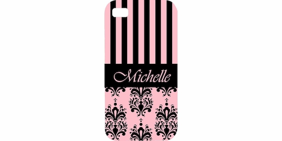 iPhone 4 4s 5 5s 5c 6 6 plus iPod Touch 4 5 cover Personalized Damask Stripes  HaRD RuBBer BuMPeR case