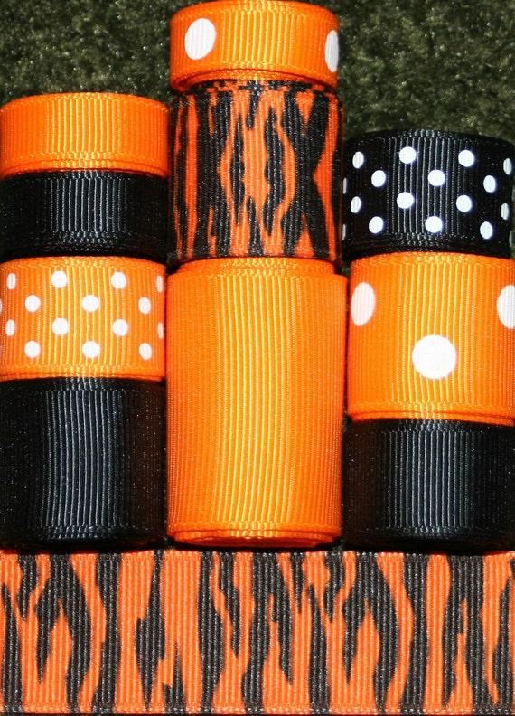 Grosgrain Ribbon Lot Mix 10YDS Tiger Halloween Orange Black