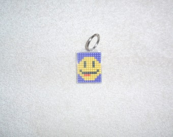 Mosaic Smiley Face Keychain