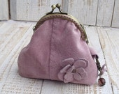 Handmade flowers pale pink leather  frame coin purse