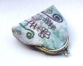 Coin frame purse with hand embroidered