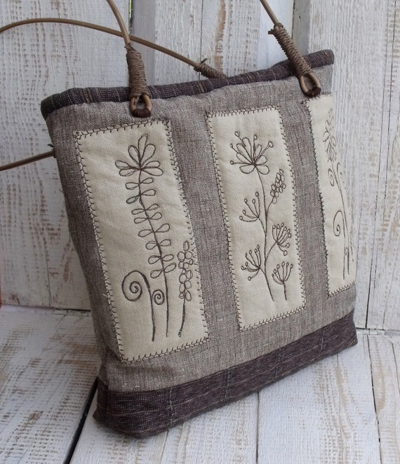 Brown and beige flowers embroidered shoulder bag