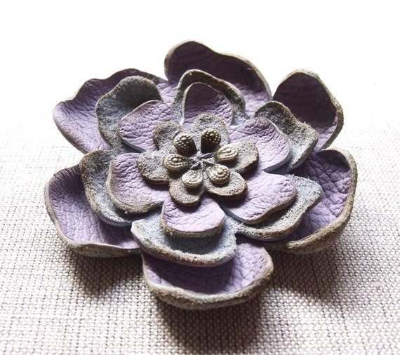 Lilac flower leather brooch or scarf pin